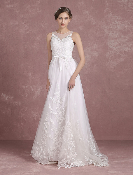 Milanoo Summer Wedding Dresses 2020 Lace Boho Beach Bridal Gown Sleeveless Illusion Neck Lace Applique Sweep Train Bridal Dress With Sash