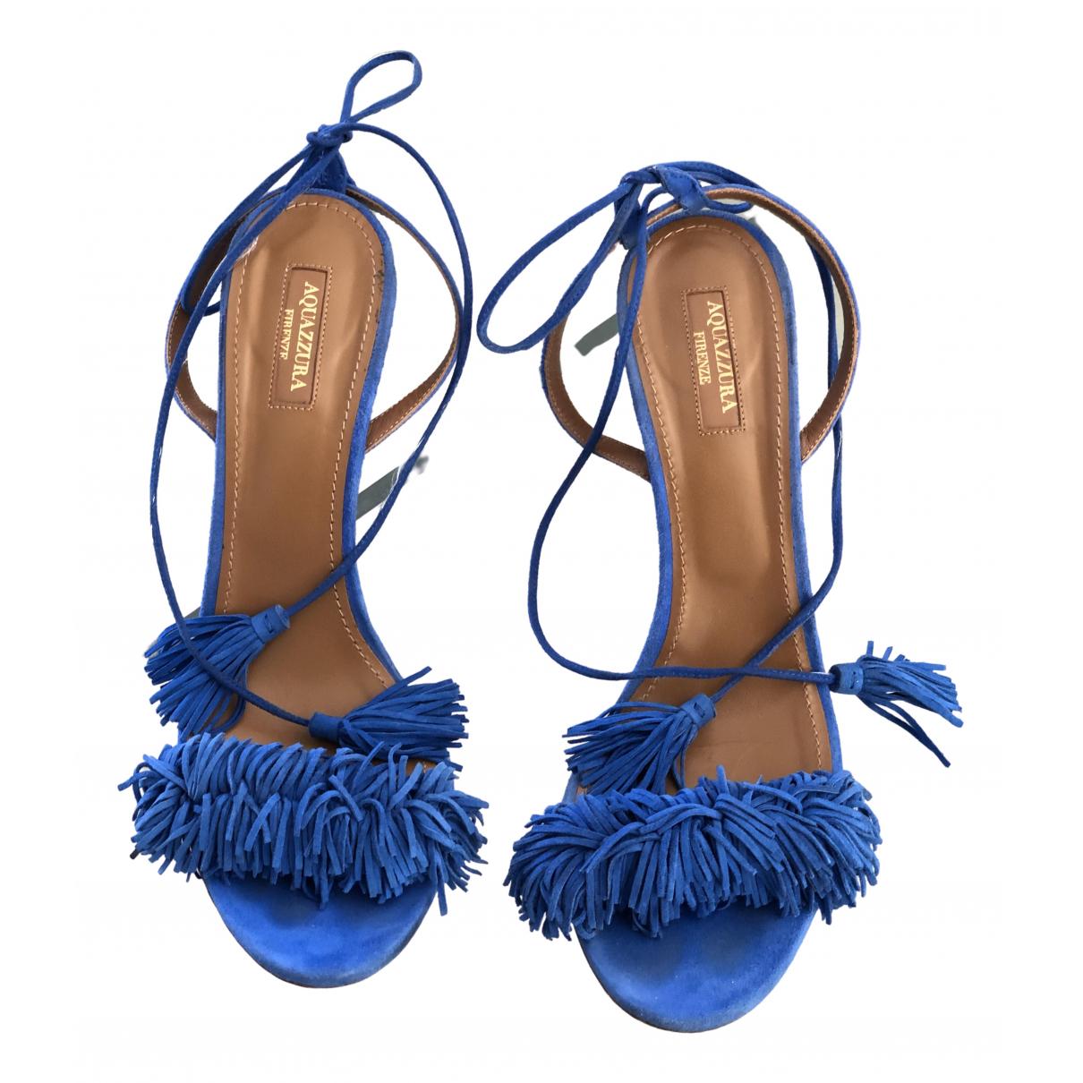 Aquazzura Wild Thing Sandalen in  Blau Veloursleder