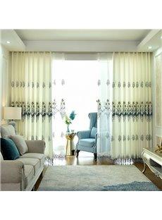 European Elegant Beige Decorative 2 Panels Living Room Custom Grommet Curtain