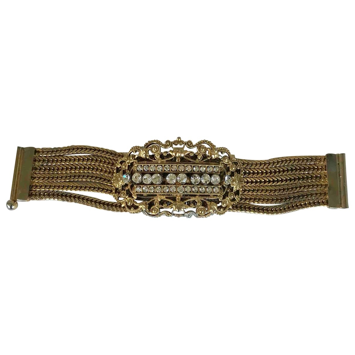 Non Signe / Unsigned Art Deco Armband in  Gold Metall