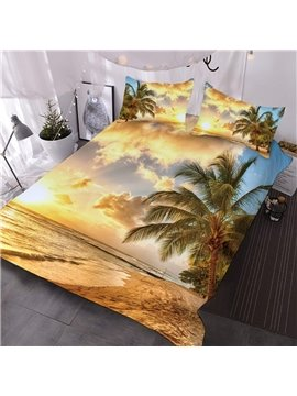 Coconut Palms By The Golden Beach Printed 3-Piece Comforter Sets