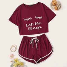 Graphic Print Top & Drawstring Waist Dolphin Shorts PJ Set