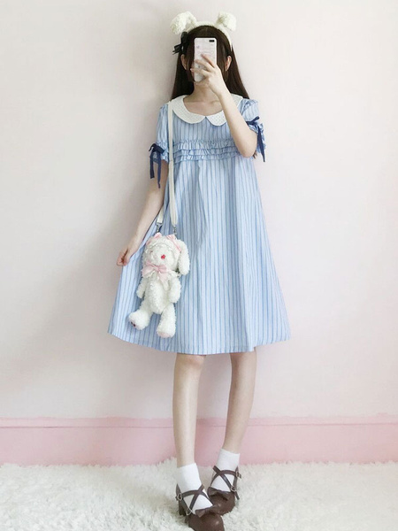 Milanoo Sweet Lolita Dress OP Ribbon Ruffle Blue Lolita One Piece Dress