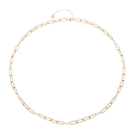 Worthington Gold Tone 34 Inch Link Strand Necklace, One Size , White