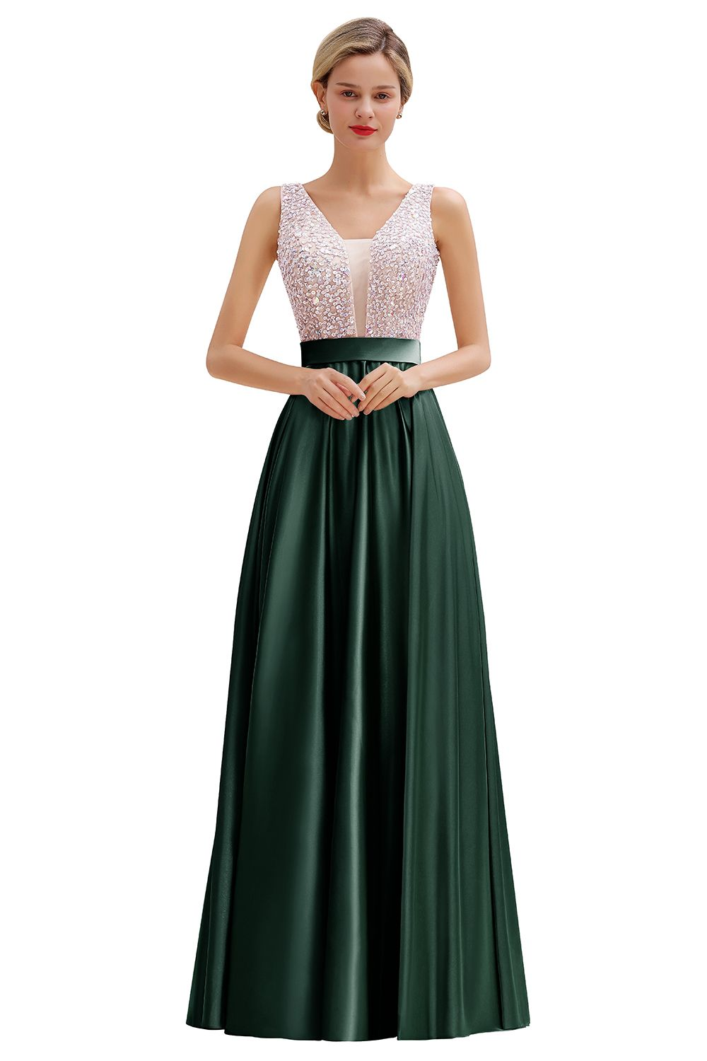 BMbridal Elegant Pink Sleeveless Long Prom Dress With Beadings Online