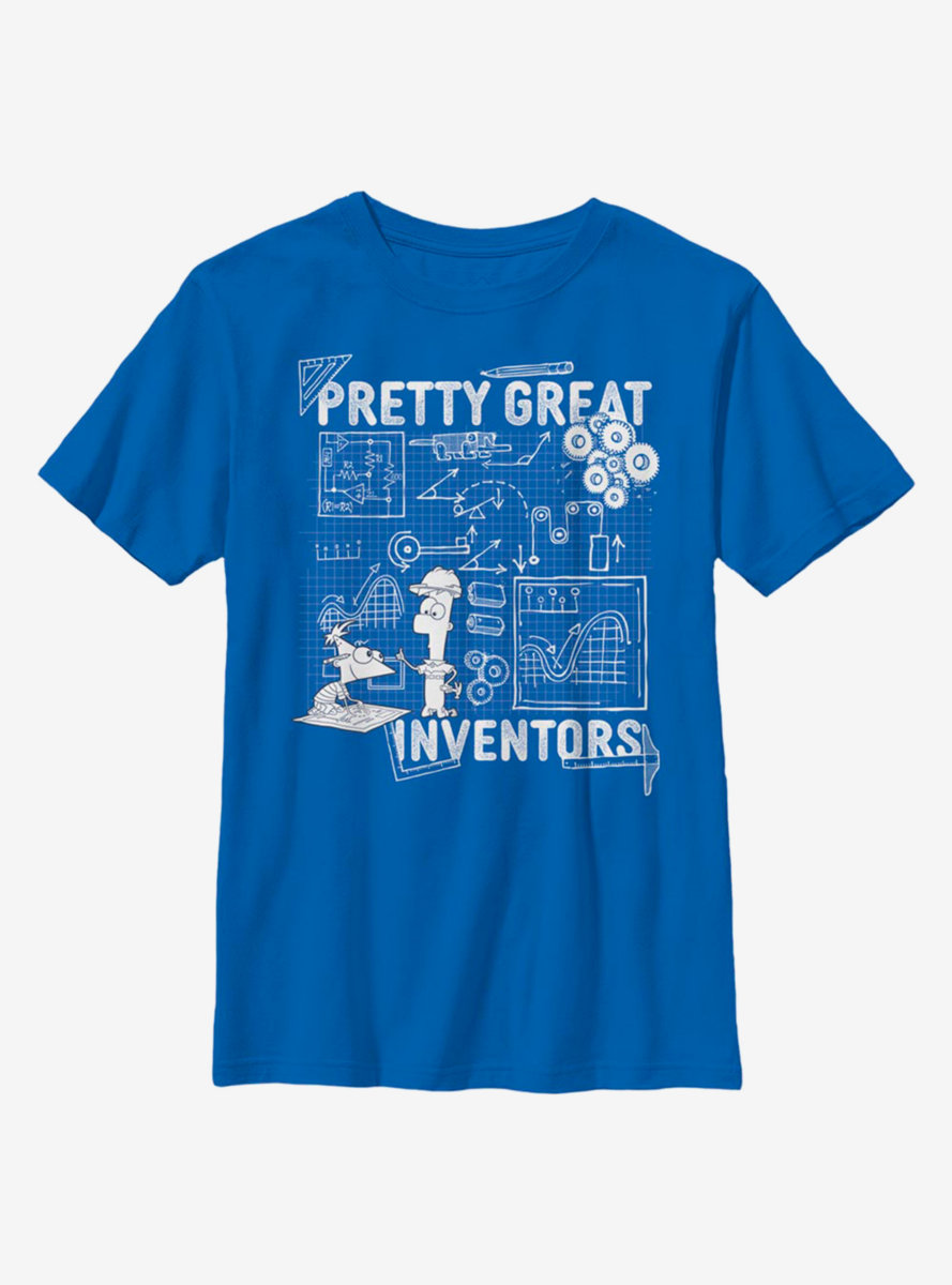 Disney Phineas And Ferb Inventor Schematics Youth T-Shirt