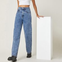 BLUES Stone Wash High-Waisted Straight Jeans
