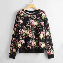 Pullover de hombros caidos con estampado floral