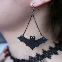 Halloween Bat Decor Drop Earrings
