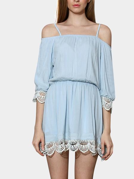 Yoins Cold Shoulder Dress With Lacy Crochet Details