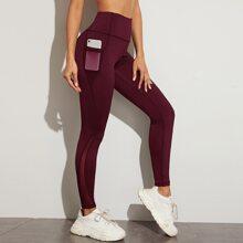 Contrast Mesh Side Pocket Sports Leggings