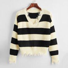 Colorblock Frayed Edge Sweater