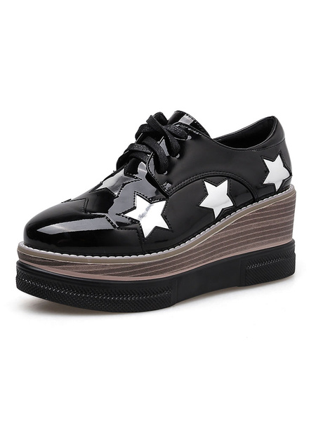 Milanoo Black Oxfords Women Lace Up Cut Out Platform Wedge Sneakers