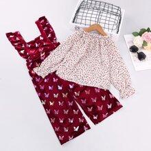 Bluse mit Gaensebluemchen Muster und Samt Overall