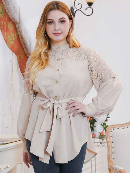 Yoins Plus Size Khaki Belt DesignStand Collar Blouse