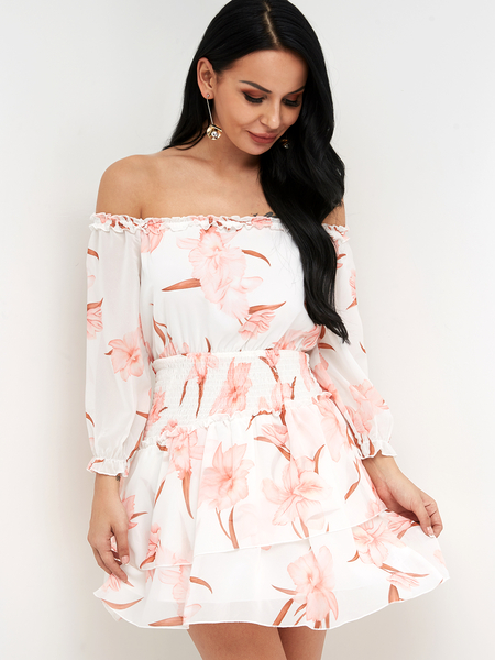 Yoins White Random Floral Print Off Shoulder Elastic Strap Dress