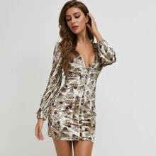 Button Front Leopard Print Velvet Dress