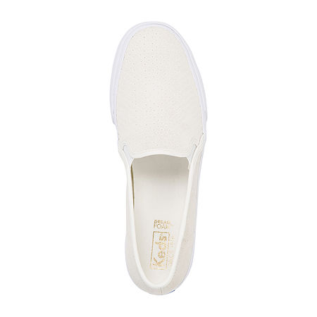 Keds Womens Double Decker Suede Slip-On Shoe, 7 Medium, White