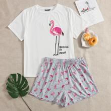 Conjunto de pijama top con estampado de slogan con shorts