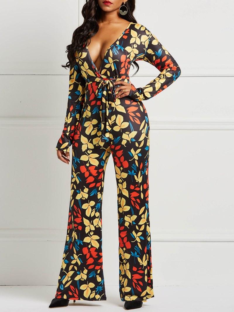 Ericdress Floral Print Long Sleeve Women's Jumpsuit