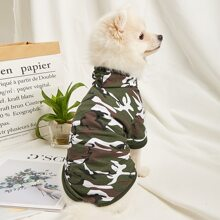 1 Stueck T-Shirt mit Camo Muster und Kapuze fuer Hunde