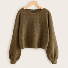 Lantern Sleeve Marled Sweater