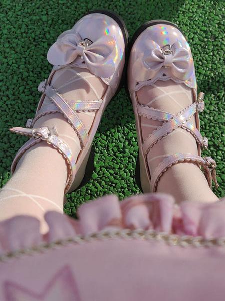 Milanoo Sweet Lolita Footwear Blue Bows Round Toe Zapatos de Lolita