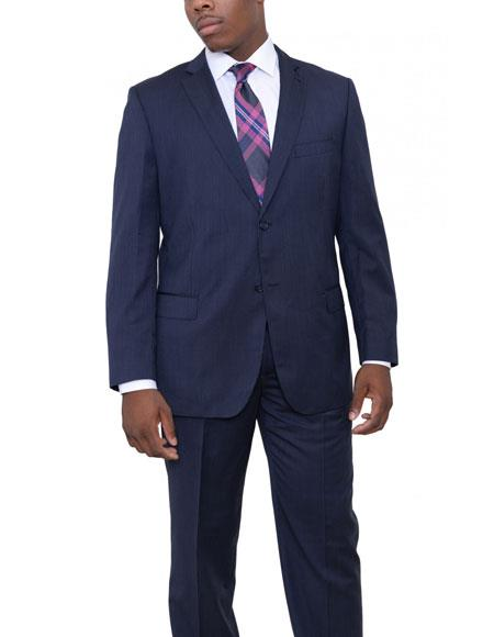 Mens 2 Buttons Classic Fit Wool Blue Pinstriped Suit Flat Front Pants