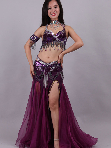 Milanoo Traje de danza del vientre Traje de danza de Bollywood con lentejuelas