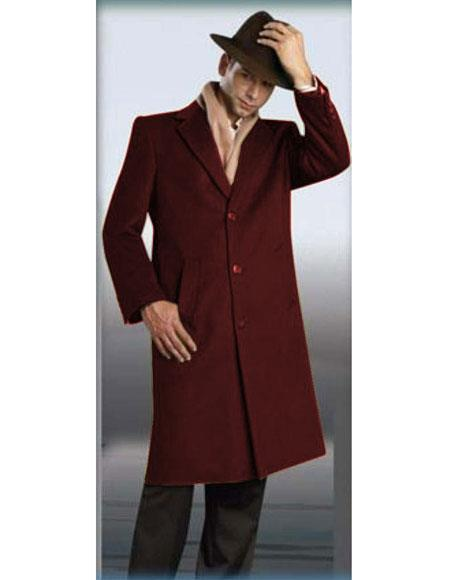 Mens Authentic Alberto Nardoni Brand Burgundy Full Length Coat Topcoat