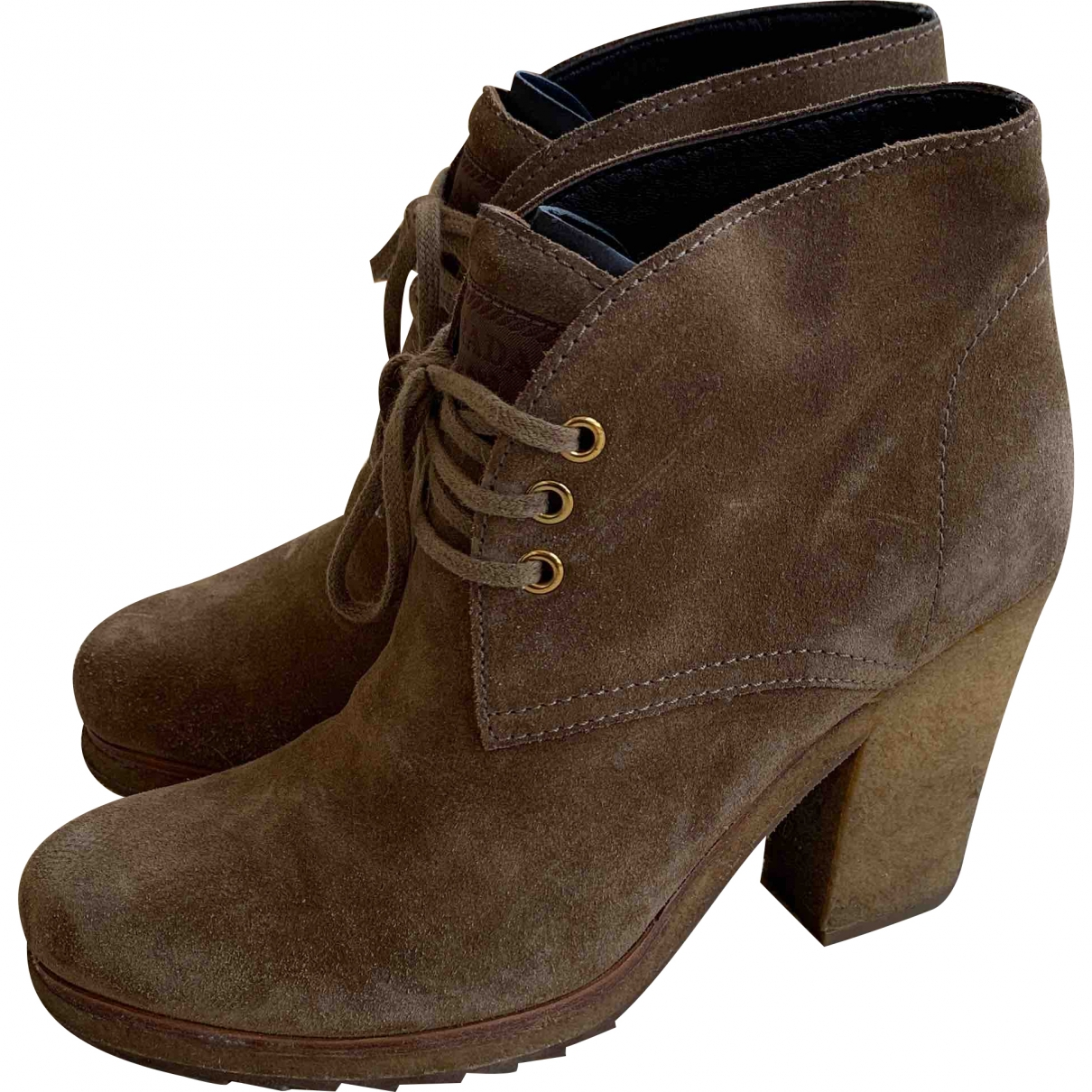 Prada \N Brown Suede Ankle boots for Women 36 EU