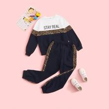Conjunto de niñas pullover panel de leopardo con slogan y dibujo con pantalones deportivos