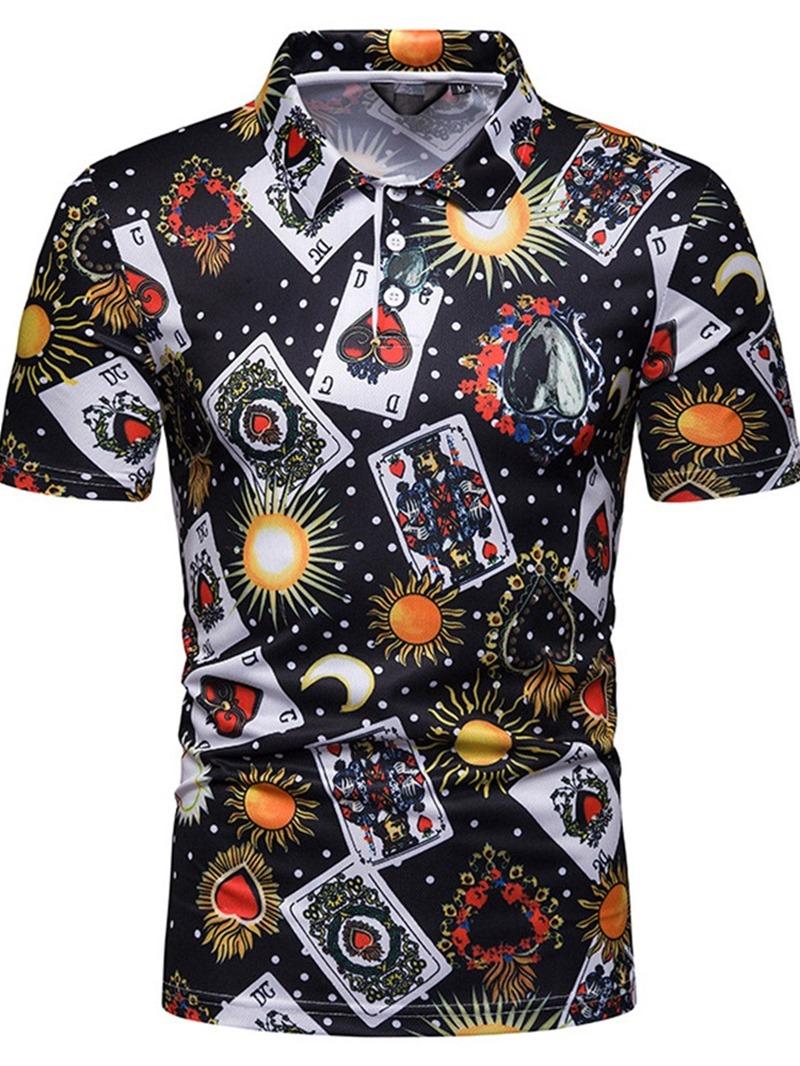 Ericdress Casual Print Mens Polo Neck Shirt