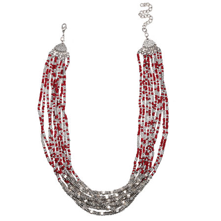 Mixit 17 Inch Beaded Necklace, One Size , Red