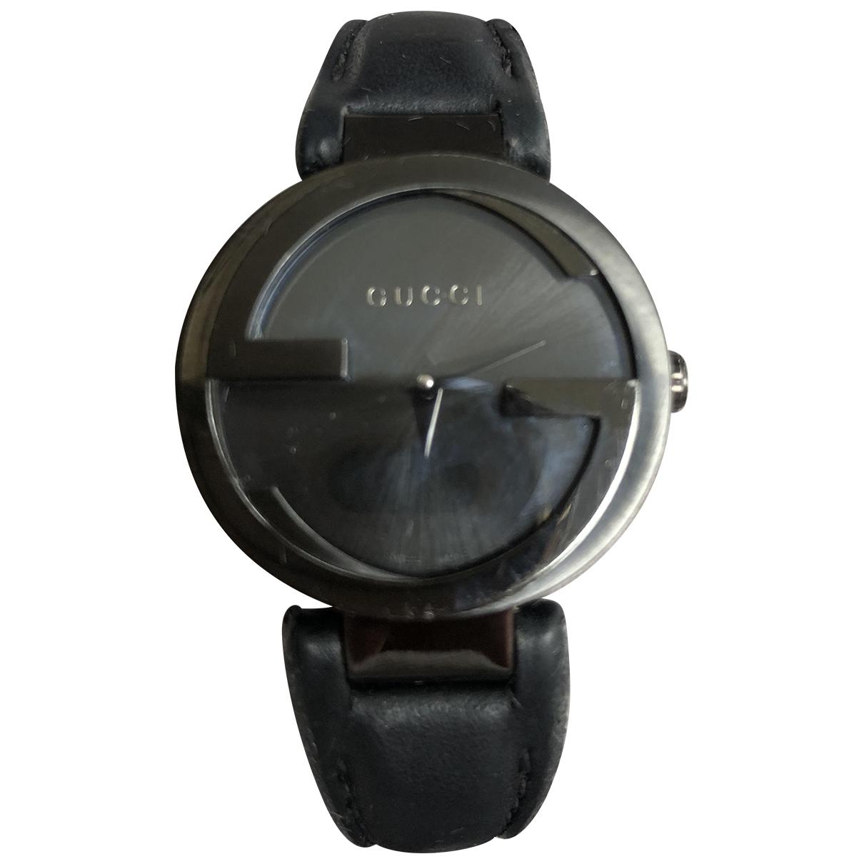 Gucci - Montre Interlocking pour femme en acier - noir
