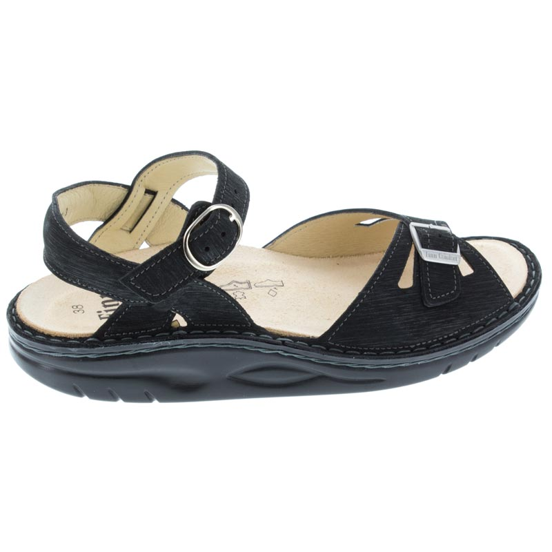 Finn Comfort Motomachi Black Waving Leather Soft Footbed 39