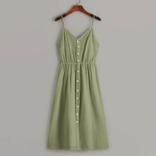 Plus Button Front Shirred Cami Dress