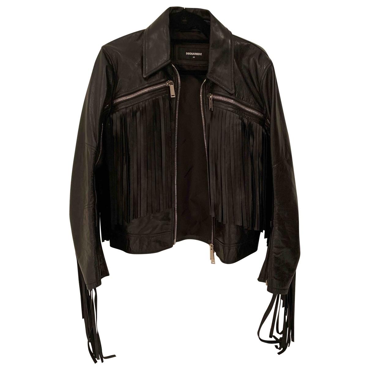Dsquared2 \N Black Leather jacket  for Men 44 IT