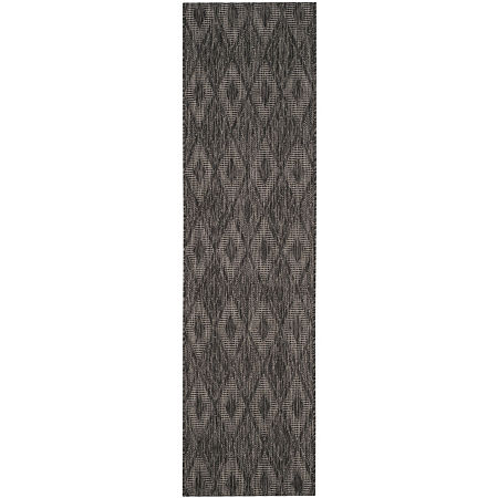Safavieh Courtyard Collection Elisa Geometric Indoor/Outdoor Runner Rug, One Size , Black