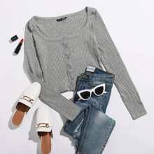Scoop Neck Rib-knit Button Front Tee