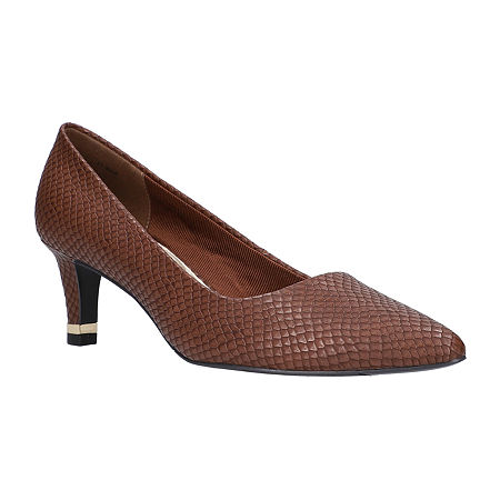 Easy Street Womens Pointed Pumps Spike Heel, 9 1/2 Wide, Brown