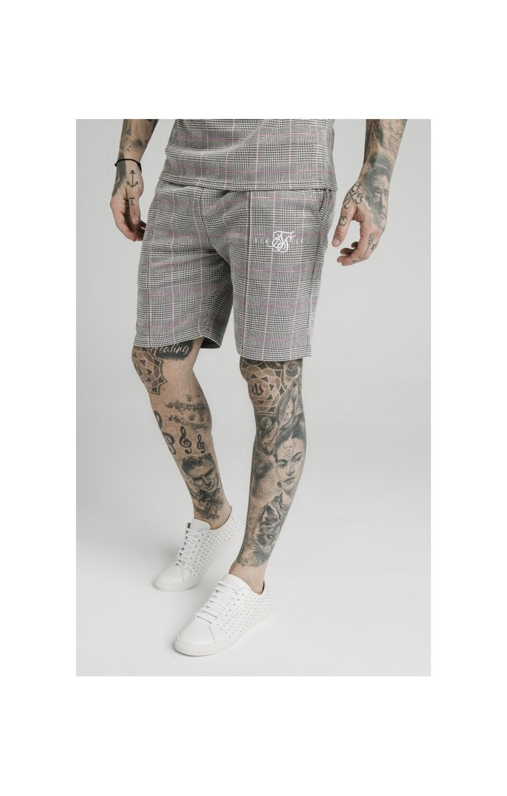 SikSilk Pleated Smart Shorts  Grey & Pink Check MEN SIZES BOTTOM: