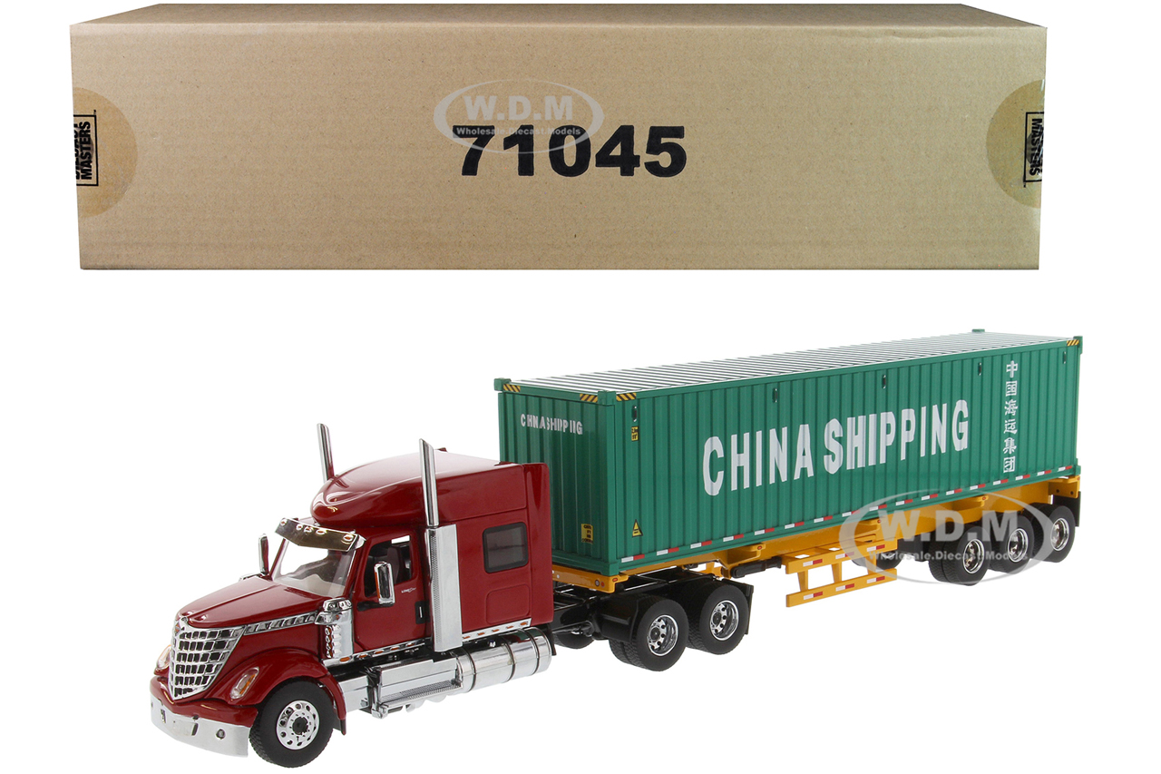 International LoneStar Sleeper Cab Red with Skeleton Trailer and 40 Dry Goods Sea Container