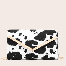 Tasche mit Metall Saum und Kuh Muster