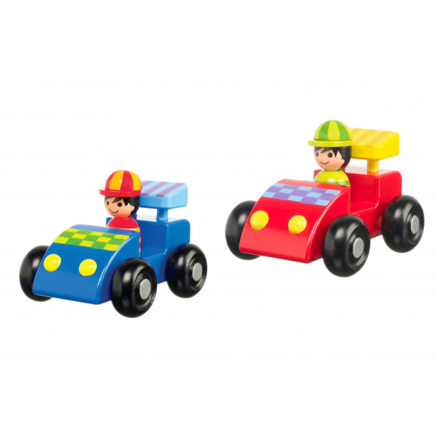 Orange Tree Toys Wooden Racing Car Set of 2 with Drivers Moving Wheels