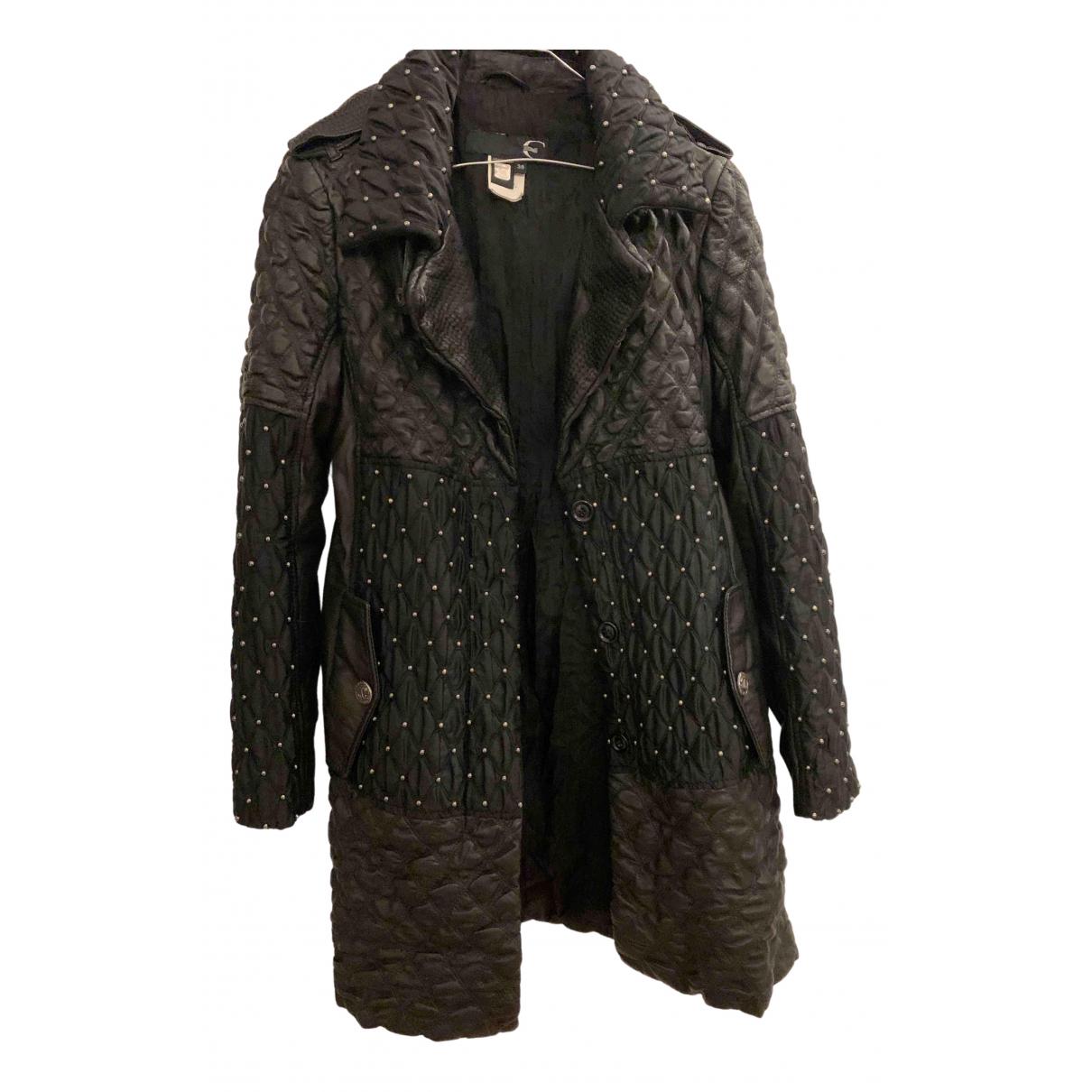 Just Cavalli - Manteau   pour femme en cuir - noir