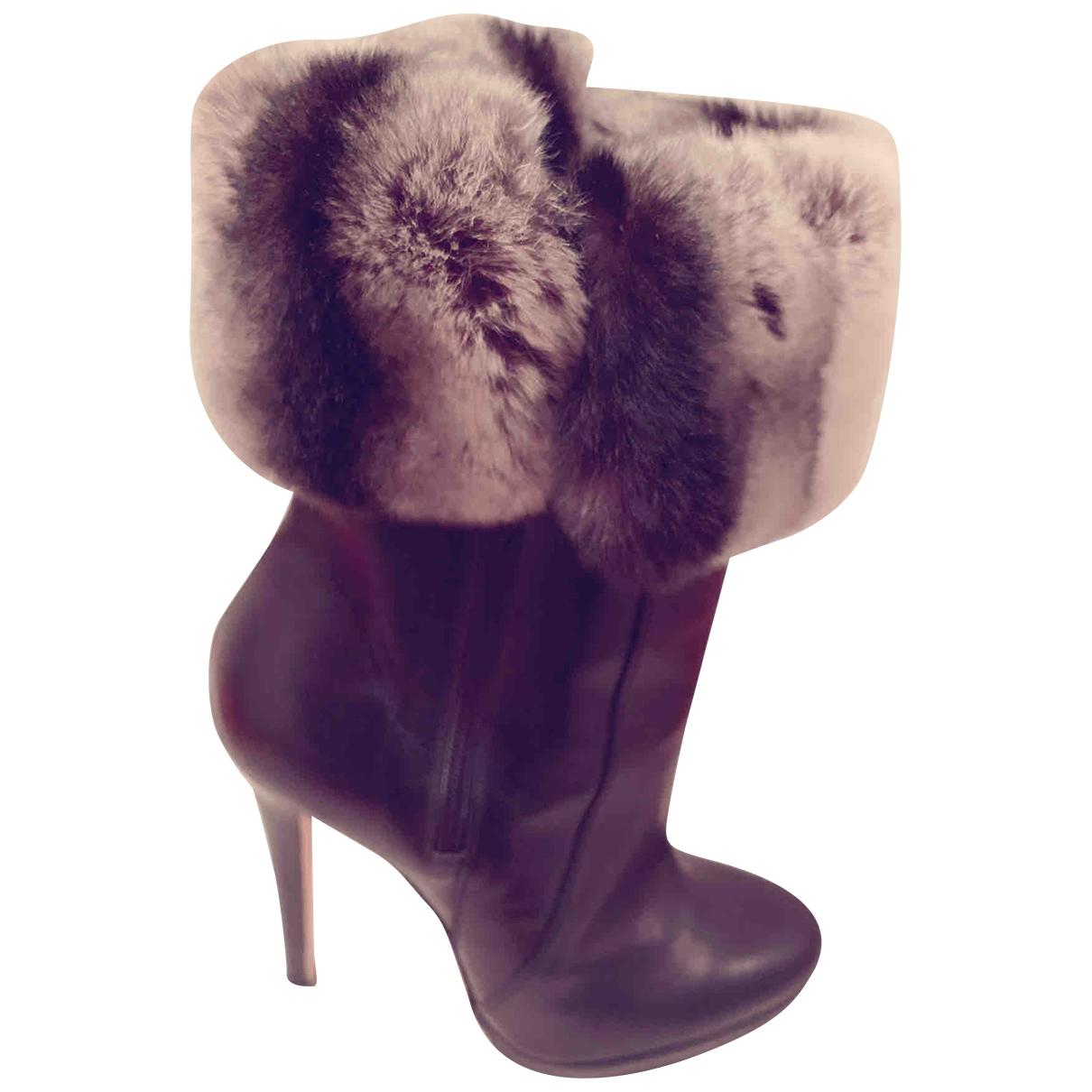 Oscar De La Renta \N Black Fur Ankle boots for Women 36.5 IT