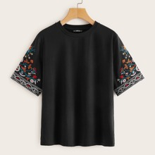 Flower Embroidered Sleeve Top