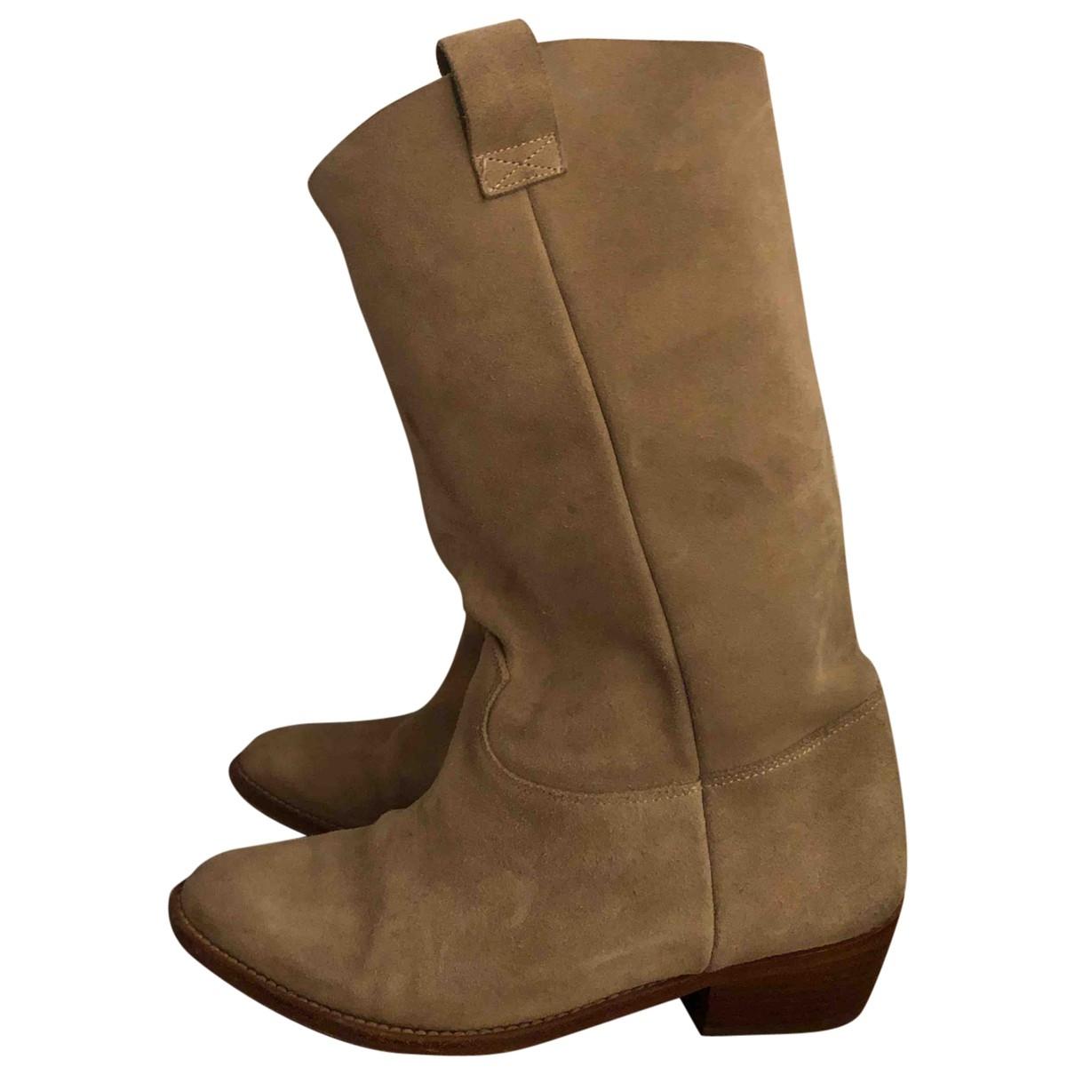Les Prairies De Paris - Boots   pour femme en cuir - beige