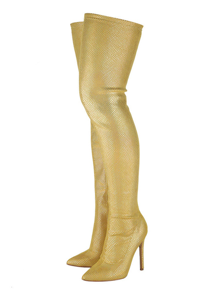 Milanoo Thigh High Boots Womens Golden PU Pointed Toe Stiletto Heel Over The Knee Boots